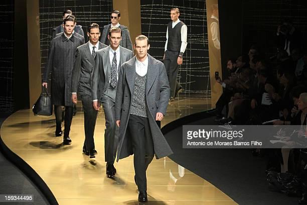 Model walks the runway during the Ermenegildo Zegna show as a part of Milan Fashion Week Menswear Autumn/Winter 2013 on January 12, 2013 in Milan,...