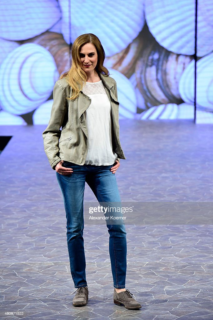A model walks the runway during the Ernsting's family Fashion Show Autumn/Winter 2015 at Hotel Atlantic on July 16, 2015 in Hamburg, Germany.