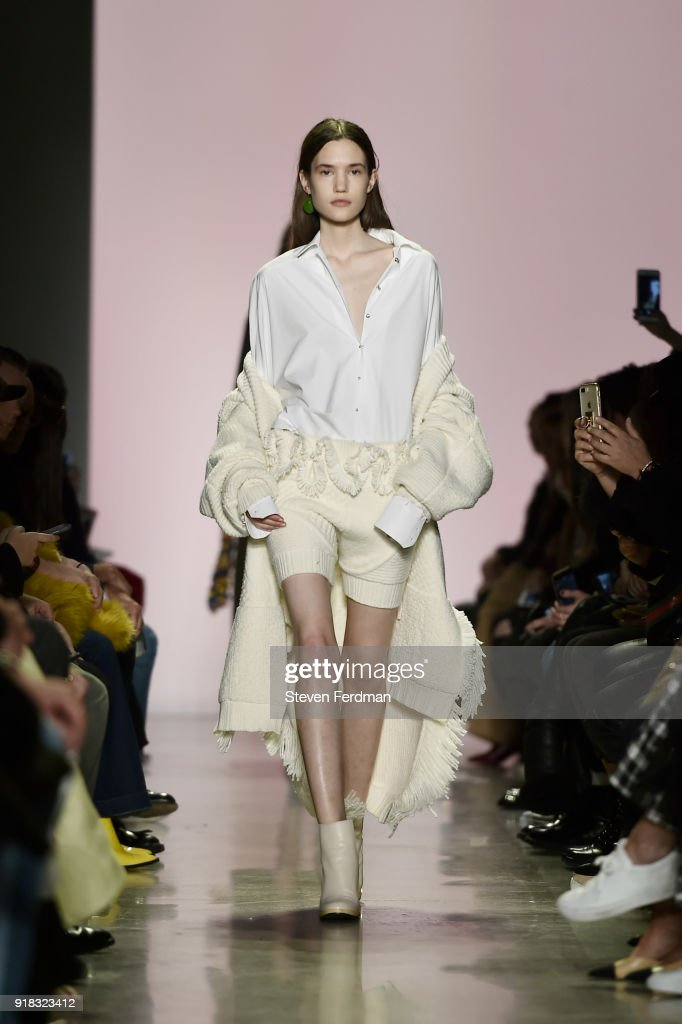 A model walks the runway during the Esteban Cortazar Fall 2018 Runway Show at Spring Studios on February 14, 2018 in New York City.