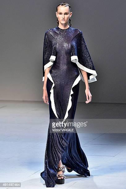 A model walks the runway during the Esteban Cortazar Ready to Wear show as part of Paris Fashion Week Womenswear Spring/Summer 2016 on October 5 2015...