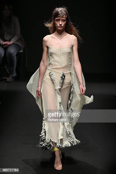 A model walks the runway during the Esteban Cortazar show as part of the Paris Fashion Week Womenswear Fall/Winter 2015/2016 on March 9 2015 in Paris...