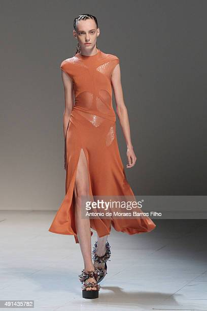 Model walks the runway during the Esteban Cortazar show as part of the Paris Fashion Week Womenswear Spring/Summer 2016 on October 5, 2015 in Paris,...