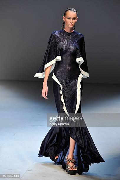 A model walks the runway during the Esteban Cortazar show as part of Paris Fashion Week Womenswear Spring/Summer 2016 on October 5 2015 in Paris...
