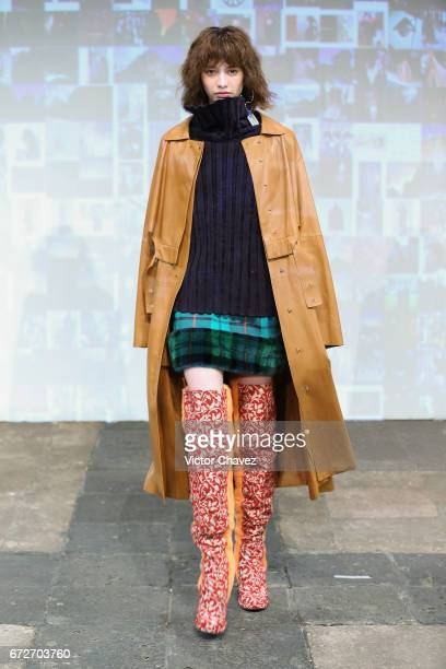 A model walks the runway during the Esteban Cortazar show at MercedesBenz Fashion Week Mexico Autumn/Winter 2017 at Ex Convento De San Hipolito on...