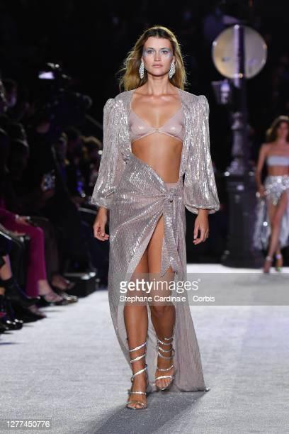 Model walks the runway during the Etam Womenswear Spring/Summer 2021 show as part of Paris Fashion Week on September 29, 2020 in Paris, France.