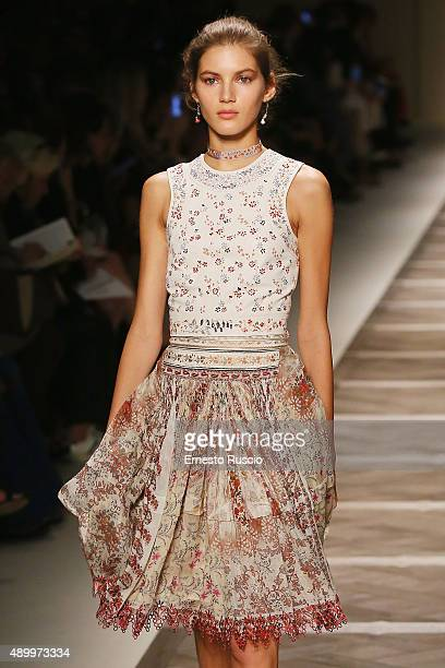 A model walks the runway during the Etro fashion show as part of Milan Fashion Week Spring/Summer 2016 on September 25 2015 in Milan Italy