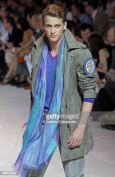 A model walks the runway during the Etro Fashion Show as part of Milan Menswear Fashion Week Spring/Summer 2010 on June 22 2009 in Milan Italy