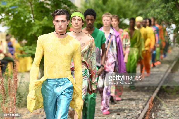 Model walks the runway during the Etro Fashion Show at the Milan Men's Fashion Week Spring/Summer 2021/22 on June 20, 2021 in Milan, Italy.