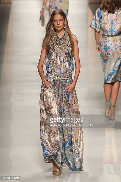 Model walks the runway during the Etro show as a part of Milan Fashion Week Womenswear Spring/Summer 2014 on September 20, 2013 in Milan, Italy.