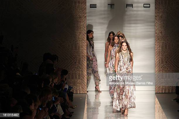 A model walks the runway during the Etro show as a part of Milan Fashion Week Womenswear Spring/Summer 2014 on September 20 2013 in Milan Italy