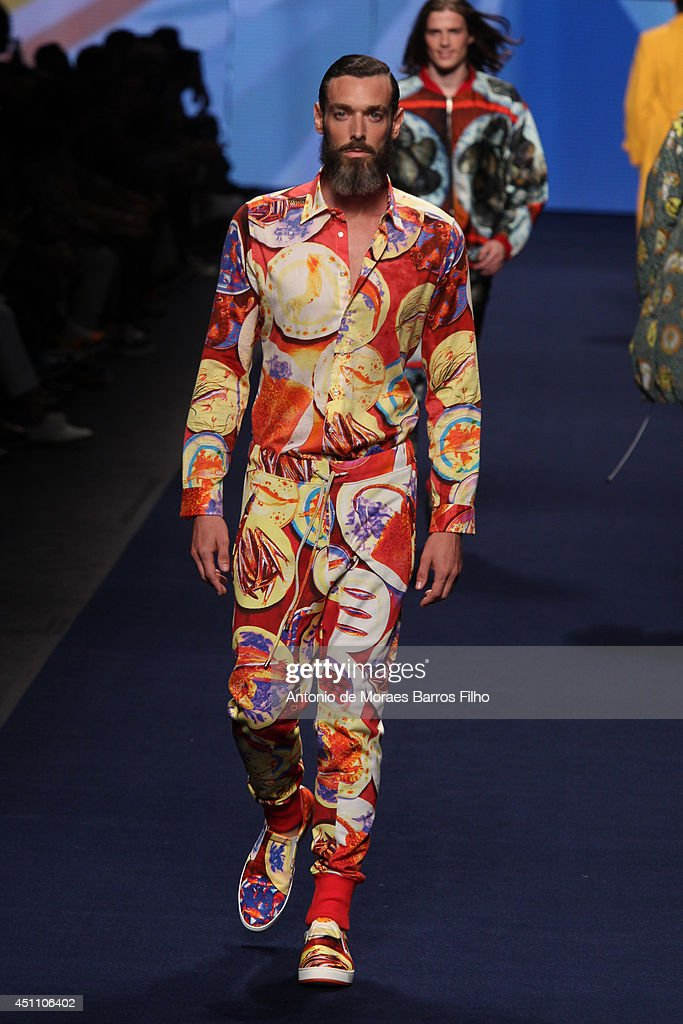 A model walks the runway during the Etro show as a part of Milan Fashion Week Menswear Spring/Summer 2015 on June 23, 2014 in Milan, Italy.