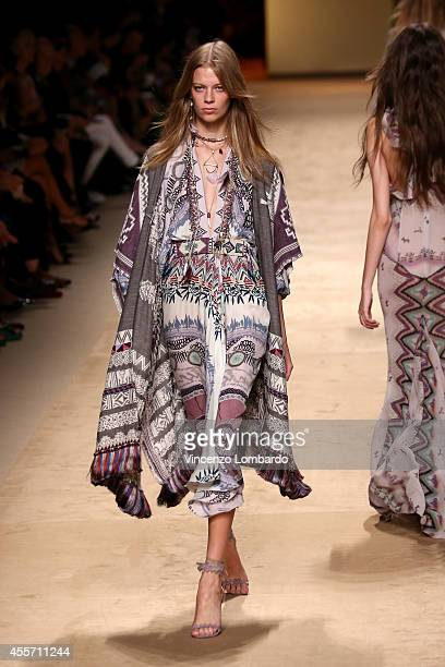 A model walks the runway during the Etro show as a part of Milan Fashion Week Womenswear Spring/Summer 2015 on September 19 2014 in Milan Italy