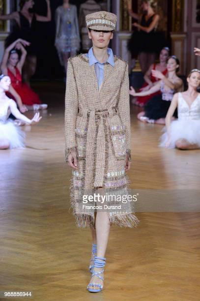 A model walks the runway during the Eva Minge Haute Couture Fall Winter 2018/2019 show as part of Paris Fashion Week on July 1 2018 in Paris France