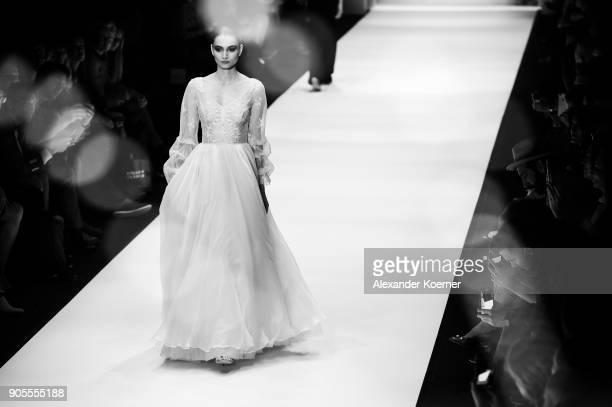 A model walks the runway during the Ewa Herzog show at MBFW Berlin January 2018 at ewerk on January 16 2018 in Berlin Germany
