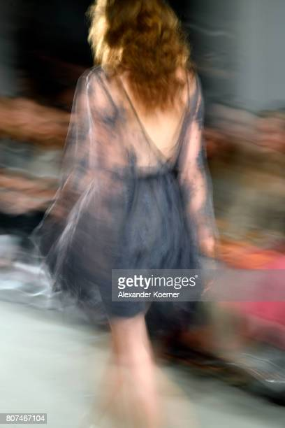 A model walks the runway during the Ewa Herzog show at MercedesBenz Fashion Week Berlin Spring/Summer 2018 at Kaufhaus Jandorf on July 4 2017 in...