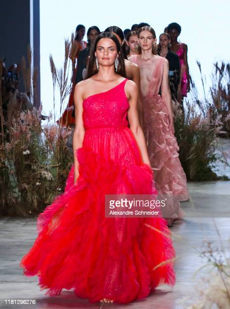 Model walks the runway during the Fabiana Milazzo show during SPFW N48Day 1 at Pavilhao das Culturas Brasileiras on October 15 2019 in Sao Paulo...