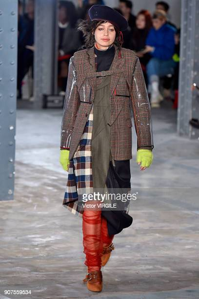 A model walks the runway during the Facetasm Menswear Fall/Winter 20182019 show as part of Paris Fashion Week on January 17 2018 in Paris France