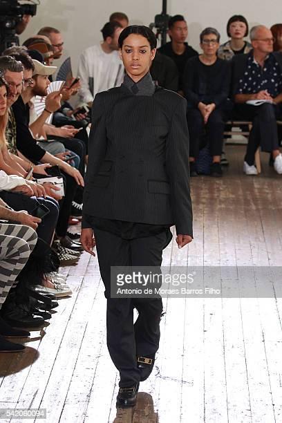Model walks the runway during the Facetasm Menswear Spring/Summer 2017 show as part of Paris Fashion Week on June 22, 2016 in Paris, France.