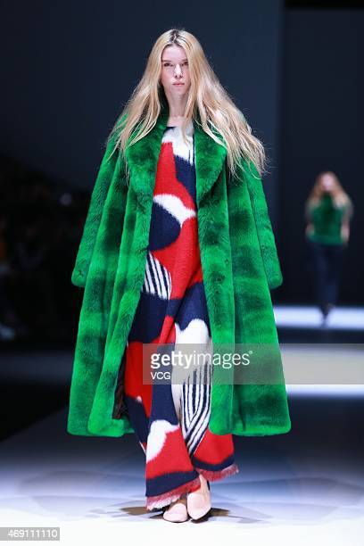 Model walks the runway during the FAKE NATOO show as part of Shanghai Fashion Week Autumn/Winter Collection on April 9, 2015 in Shanghai, China.