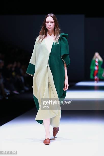A model walks the runway during the FAKE NATOO show as part of Shanghai Fashion Week Autumn/Winter Collection on April 9 2015 in Shanghai China