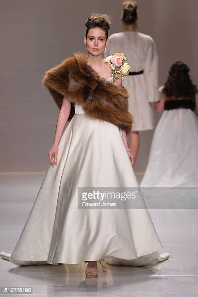 A model walks the runway during the Farley Chatto fashion show at David Pecaut Square on March 17 2016 in Toronto Canada