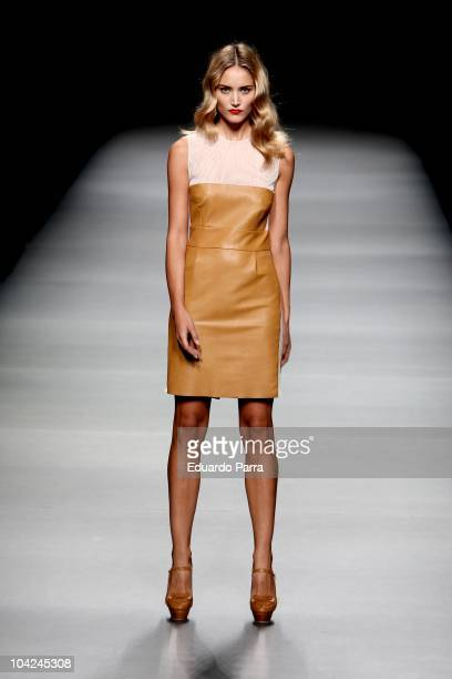 A model walks the runway during the fashion designer Teresa Helbig show during Cibeles Madrid Fashion Week S/S 2011 at Ifema on September 18 2010 in...