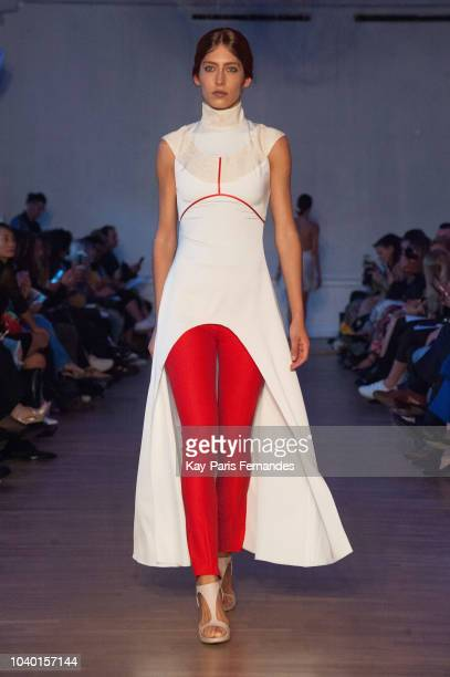 A model walks the runway during the Fatima Lopes show as part of the Paris Fashion Week Womenswear Spring/Summer 2019 on September 25 2018 in Paris...