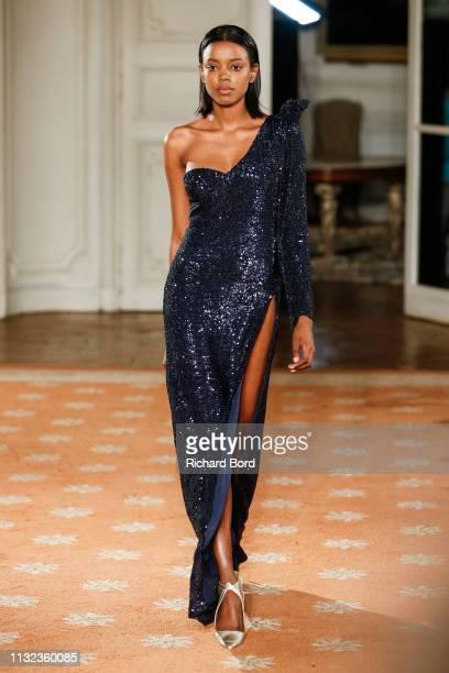 A model walks the runway during the Fatima Lopes show as part of the Paris Fashion Week Womenswear Fall/Winter 2019/2020 on February 26 2019 in Paris...