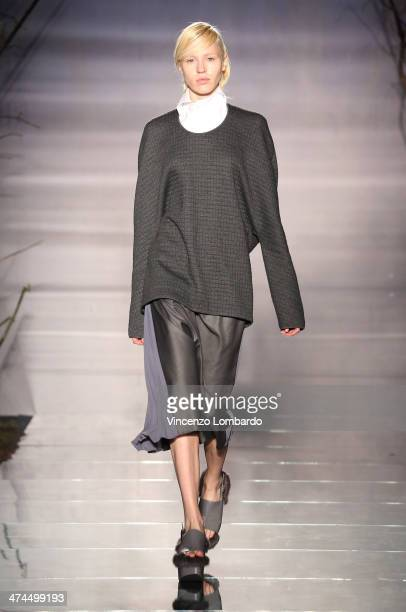 A model walks the runway during the Fatima Val Presentation as part of Milan Fashion Week Womenswear Autumn/Winter 2014 on February 23 2014 in Milan...