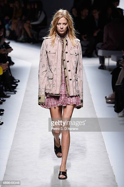 A model walks the runway during the Fay show during the Milan Fashion Week Spring/Summer 2016 on September 23 2015 in Milan Italy