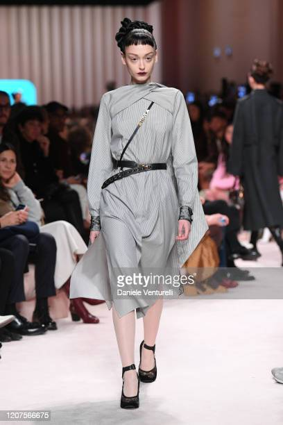 Model walks the runway during the Fendi fashion show as part of Milan Fashion Week Fall/Winter 2020-2021 on February 20, 2020 in Milan, Italy.