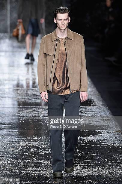Model walks the runway during the Fendi fashion show as part of Milan Men's Fashion Week Spring/Summer 2016 on June 22, 2015 in Milan, Italy.