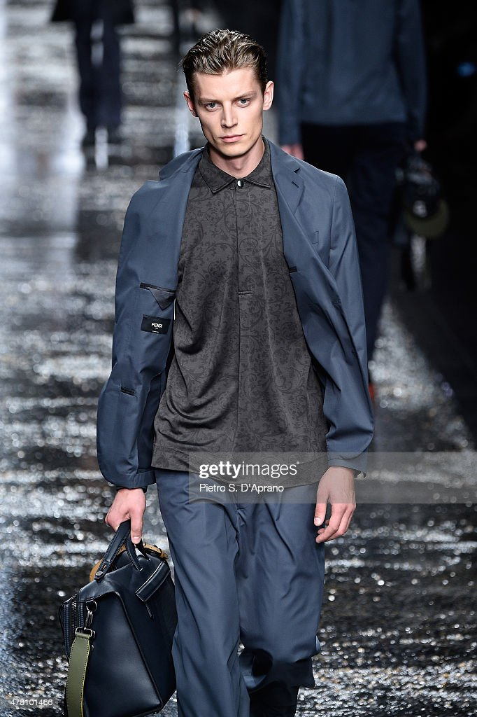 d94c51055ef7 A model walks the runway during the Fendi fashion show as part of ...