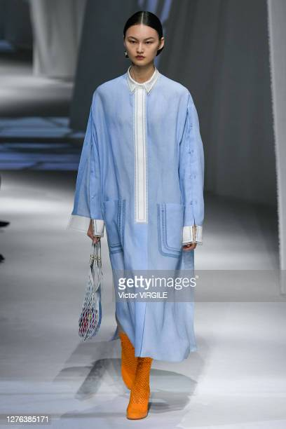 Model walks the runway during the Fendi Ready to Wear Spring/Summer 2021 Fashion show as part of the Milano Fashion Week Spring/Summer 2021 on...