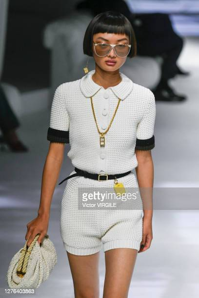 A model walks the runway during the Fendi Ready to Wear Spring/Summer 2021 Fashion show as part of the Milano Fashion Week Spring/Summer 2021 on...
