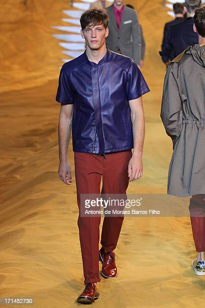 Model walks the runway during the Fendi show as a part of Milan Fashion Week S/S 2014 on June 24, 2013 in Milan, Italy.