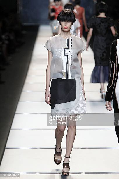 A model walks the runway during the Fendi show as a part of Milan Fashion Week Womenswear Spring/Summer 2014 on September 19 2013 in Milan Italy