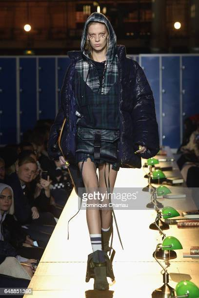 A model walks the runway during the FENTY PUMA by Rihanna as part of the Paris Fashion Week Womenswear Fall/Winter 2017/2018 on March 6 2017 in Paris...
