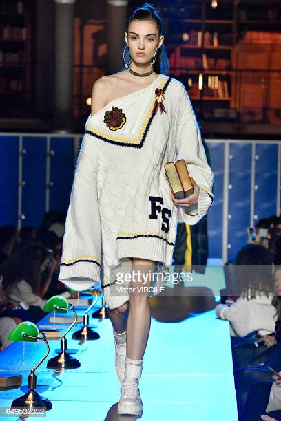 A model walks the runway during the FENTY PUMA by Rihanna show as part of the Paris Fashion Week Womenswear Fall/Winter 2017/2018 on March 6 2017 in...