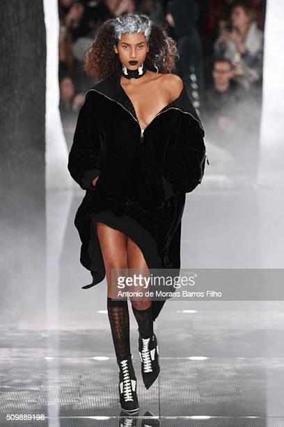 A model walks the runway during the FENTY x PUMA by Rihanna show as a part of Fall 2016 New York Fashion Week at 23 Wall Street on February 12 2016...