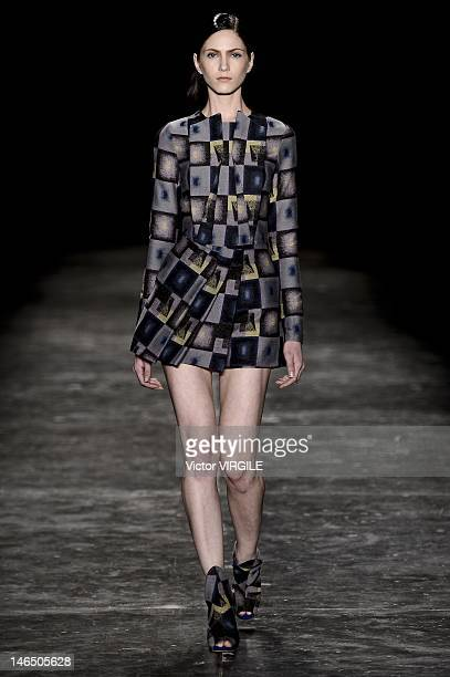 Model walks the runway during the Fernanda Yamamoto show as part of the Sao Paulo Fashion Week Spring Summer 2013 on June 16, 2012 in Sao Paulo,...
