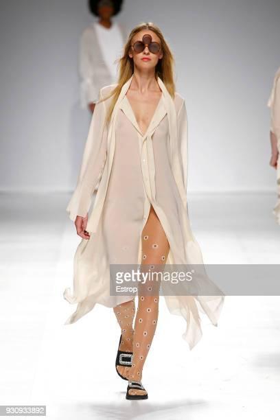 A model walks the runway during the Filipe Faisca show as part of the Lisboa Fashion Week 'Moda Lisboa' 2018 on March 11 2018 in Lisbon Portugal