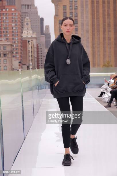 Model walks the runway during the first show of Flying Solo 2021 on February 13, 2021 in New York City.