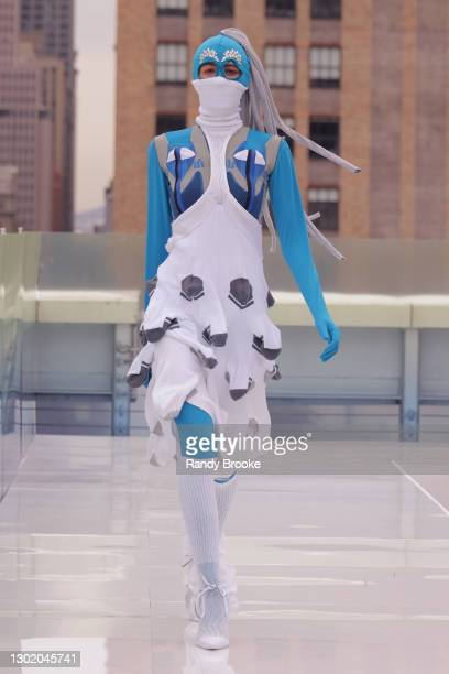 Model walks the runway during the Flying Solo 2021 show on February 13, 2021 in New York City.