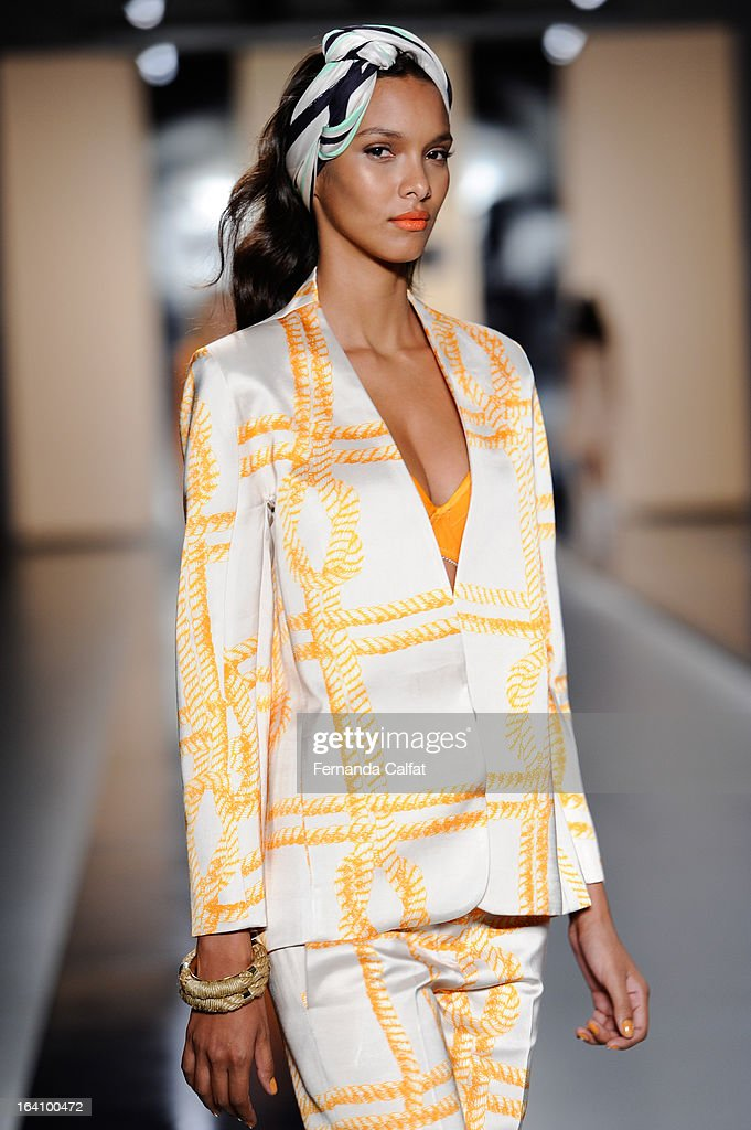 A model walks the runway during the Forum show during Sao Paulo Fashion Week Summer 2013/2014 on March 19, 2013 in Sao Paulo, Brazil.