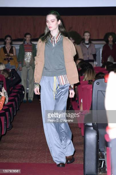 A model walks the runway during the Francesca Liberatore fashion show as part of Milan Fashion Week Fall/Winter 20202021 on February 22 2020 in Milan...