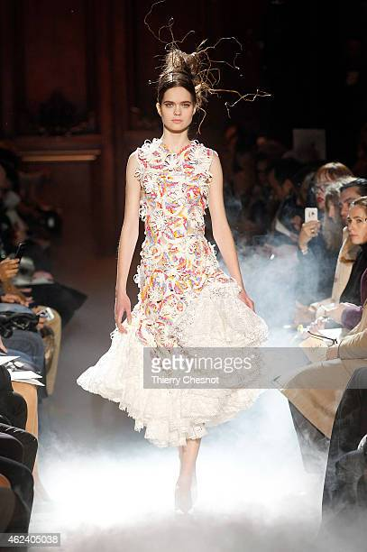 A model walks the runway during the Franck Sorbier show as part of Paris Fashion Week Haute Couture Spring/Summer 2015> on January 28 2015 in Paris...