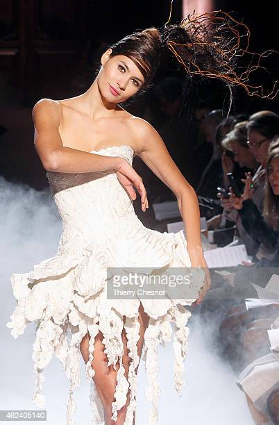 A model walks the runway during the Franck Sorbier show as part of Paris Fashion Week Haute Couture Spring/Summer 2015 on January 28 2015 in Paris...