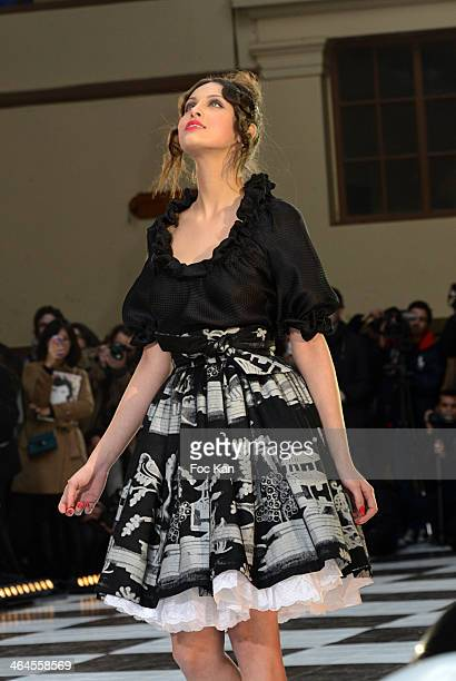 Model walks the runway during the Franck Sorbier show as part of Paris Fashion Week Haute Couture Spring/Summer at the Caserne De La Garde...