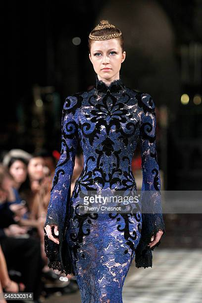 A model walks the runway during the Francois Eymeric Haute Couture Fall/Winter 20162017 show as part of Paris Fashion Week on July 7 2016 in Paris...